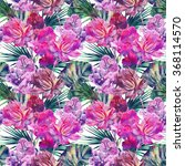 watercolor tropical flowers ... | Shutterstock . vector #368114570