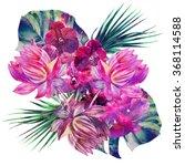 watercolor tropical flowers ... | Shutterstock . vector #368114588