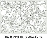 funny crazy doodle illustration ... | Shutterstock .eps vector #368115398