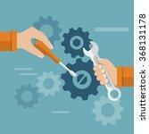 teamwork. hands team with a...   Shutterstock .eps vector #368131178