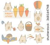 Cute Hand Drawn Rabbits Set...