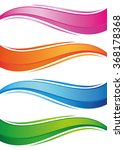 waves of colorful banners set....