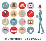 wedding icons buttons set...   Shutterstock .eps vector #368193329
