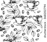seamless coffee background with ... | Shutterstock .eps vector #368202794