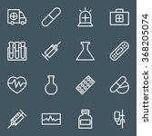 set of white line medical icons. | Shutterstock .eps vector #368205074