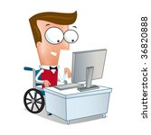 disabled man attend computer | Shutterstock . vector #36820888