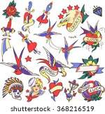 big old tattoo set vector.... | Shutterstock .eps vector #368216519