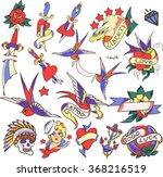 big old tattoo set vector.... | Shutterstock .eps vector #368216519