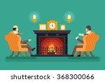 gentlemen fireplace tea drink... | Shutterstock .eps vector #368300066