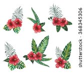 red hibiscus watercolor bouquet ... | Shutterstock . vector #368345306