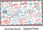 retro post stamp. passport... | Shutterstock .eps vector #368347994