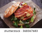 sandwich with fried bacon ... | Shutterstock . vector #368367683