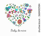 cute doodle heart with floral... | Shutterstock .eps vector #368400584