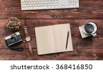 work space on wood table of a... | Shutterstock . vector #368416850