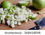 cut granny smith green apples... | Shutterstock . vector #368418098