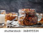 homemade granola in jar on... | Shutterstock . vector #368495534