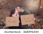 engaged couple kissing and... | Shutterstock . vector #368496344