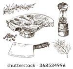 vector steak meat hand drawing...   Shutterstock .eps vector #368534996