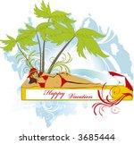 girl under palm  vector | Shutterstock .eps vector #3685444