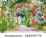 flower garden. watercolor... | Shutterstock . vector #368549774