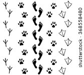 Stock vector vector set of human and animal bird footprints icon collection of bare human foots cat dog 368558480