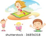illustration of kids on white | Shutterstock . vector #36856318