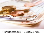 Stock photo  detail of euro money banknotes coins european currency vintage 368573708