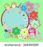 background with owl and flowers.... | Shutterstock .eps vector #368583089