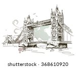 Hand Drawn London Tower Bridge...