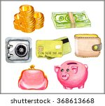 watercolor illustration set... | Shutterstock . vector #368613668