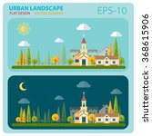 urban house and landscape flat... | Shutterstock .eps vector #368615906