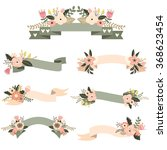 wedding floral banners set  | Shutterstock .eps vector #368623454