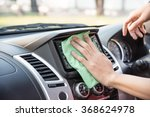 cleaning with green microfiber ... | Shutterstock . vector #368624978