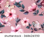Stock photo hand drawn watercolor floral seamless pattern with the tender white and pink hibiscus flowers and 368626550