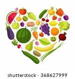 fruits  vegetables  heart ... | Shutterstock .eps vector #368627999