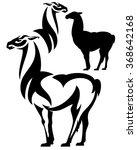 standing llama black and white... | Shutterstock .eps vector #368642168