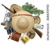 vector safari concept with hat | Shutterstock .eps vector #368655950