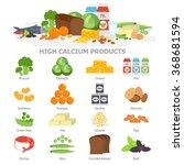 high calcium food infographic... | Shutterstock .eps vector #368681594