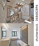 renovation of a bathroom before ... | Shutterstock . vector #368682896