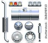 vector chromed truck parts set 1 | Shutterstock .eps vector #368698910