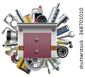 vector garage with car spares | Shutterstock .eps vector #368701010
