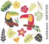 toucans and tropical plants | Shutterstock .eps vector #368707439
