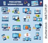 podcasting and online webinar... | Shutterstock .eps vector #368713919