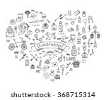 hand drawn doodle love and... | Shutterstock .eps vector #368715314