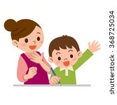 mother to teach study to... | Shutterstock .eps vector #368725034