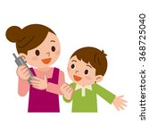 mother and children in the phone | Shutterstock .eps vector #368725040