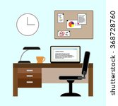 vector office set with a desk... | Shutterstock .eps vector #368728760