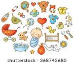 colorful cartoon baby set | Shutterstock .eps vector #368742680