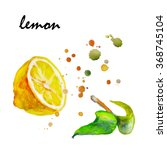 juicy lemon watercolor on paper.... | Shutterstock . vector #368745104