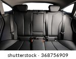 back black leather seat of the car isolated - stock photo